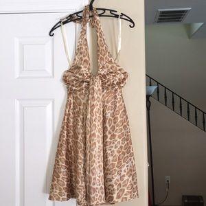 Satiny leopard halter dress
